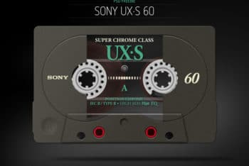 Free Sony Cassette Tape Mockup in PSD