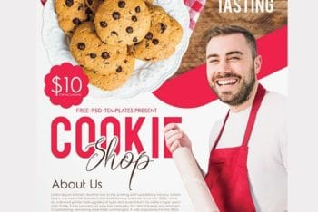 Cookie Shop Flyer PSD Mockup For Promotional Purpose