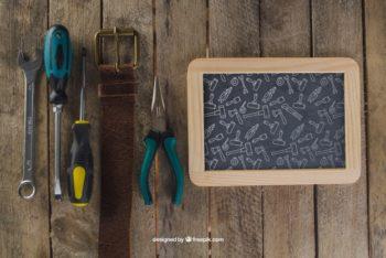 Free Dad Tools Plus Chalkboard Mockup in PSD