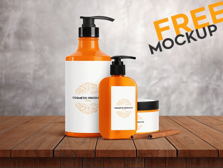 cosmetic products set psd mockup download for free