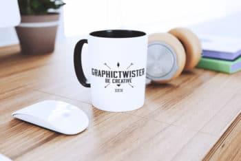Free Mug Plus Gadgets Scene Mockup