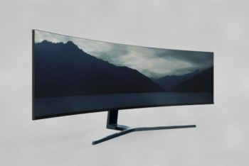 Huge Curved Television Mockup Freebie in PSD
