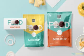Free Set of Food Packaging Mockup in PSD