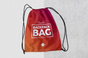 Drawstring Backpack PSD Mockup for Personal & Commercial Usages