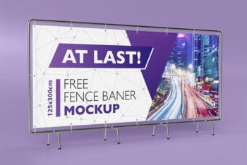 Horizontal Banner Sign Stand Mockup in PSD