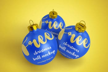 Free Christmas Ball Mockups in PSD
