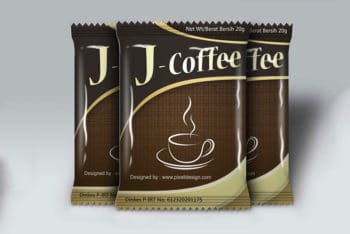 Free Coffee Sachet Mockup in PSD