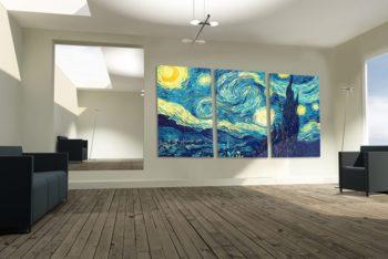 Free Living Room Gallery Mockup in PSD
