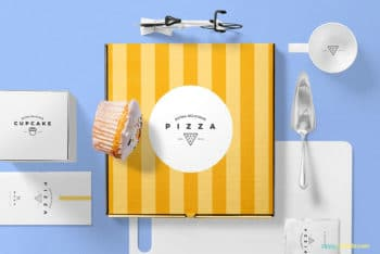 Free Pizza Packaging PSD Mockup