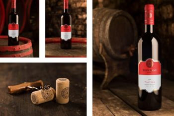 Free Red Wine Bottle Mockup in PSD