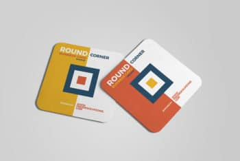 Free Square Business Card Mockup in PSD