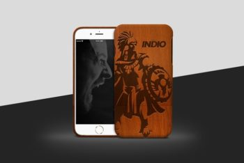 Free Wooden iPhone Case Mockup in PSD
