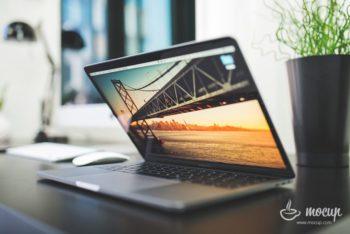 Free Semi Closed MacBook Pro Mockup