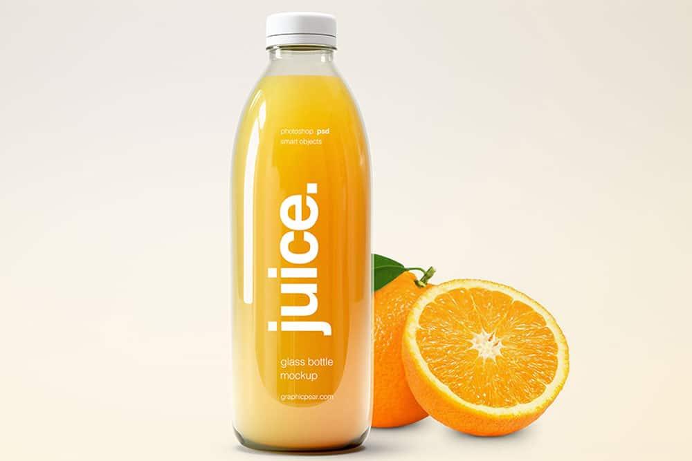 glass bottle juice mockup