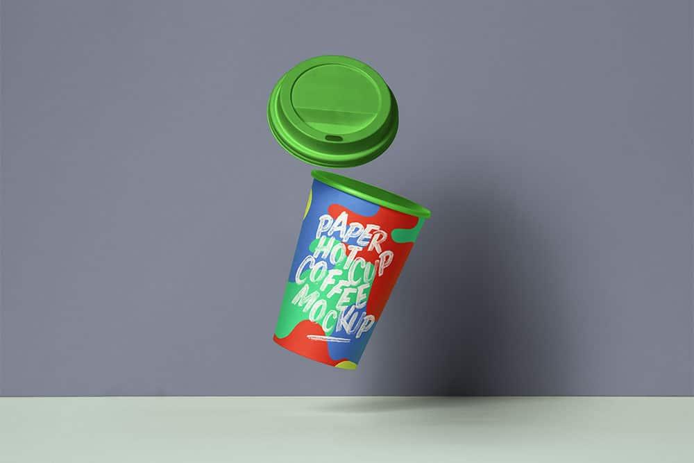 gravity paper cup mockup