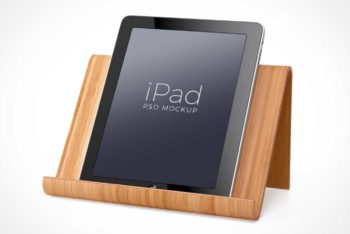 Free iPad Plus Wooden Stand Mockup