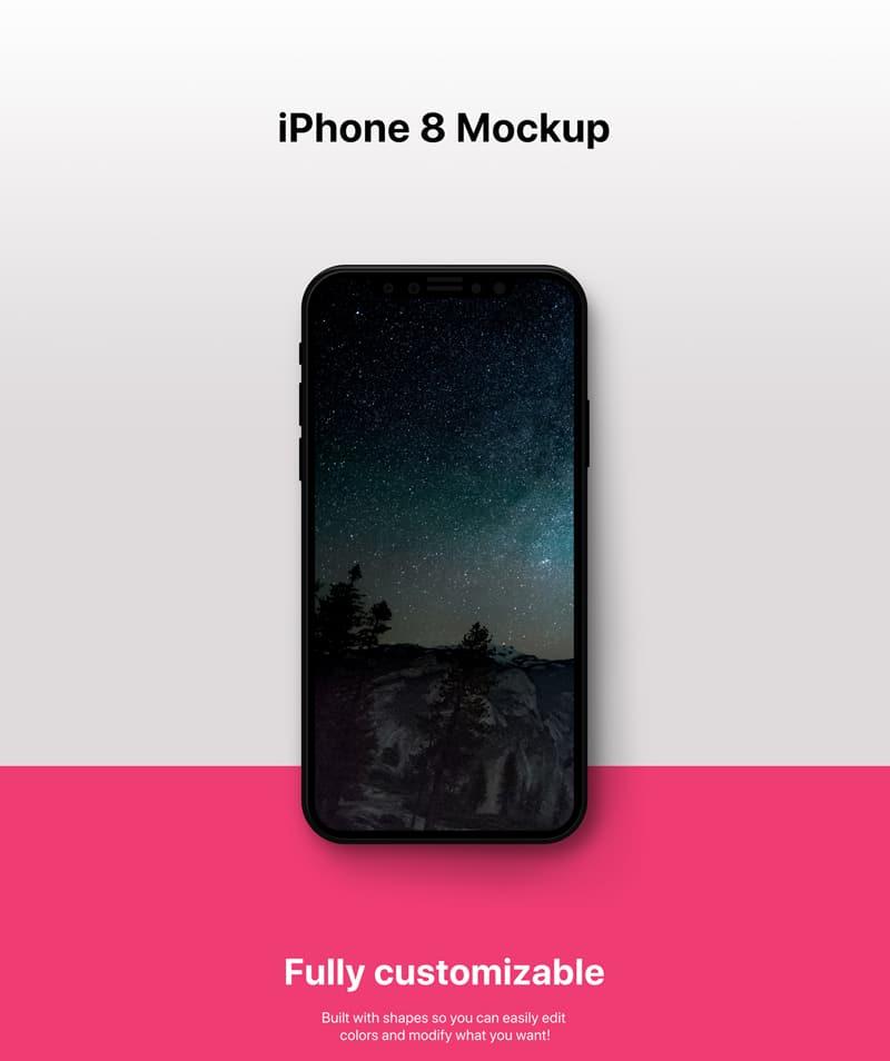 iPhone 8 PSD Mockup Design Template