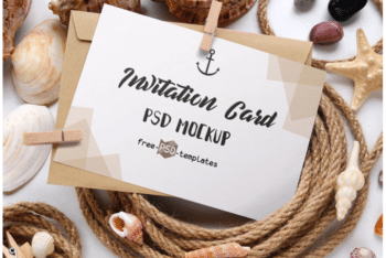 Beautiful Invitation Card PSD Mockup Scene
