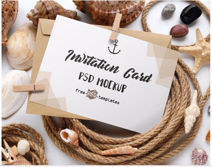 Invitation Card PSD Mockup Design