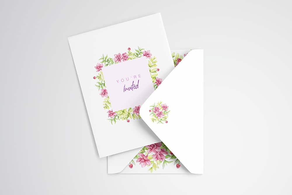 invitation card psd mockup