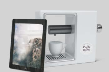 Free iPad Plus Coffee Maker Mockup