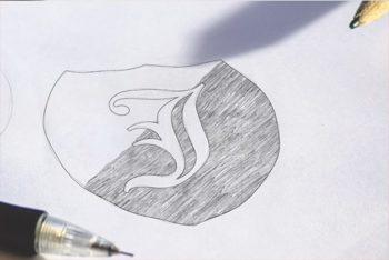 Free Customizable Logo Sketch Mockup in PSD