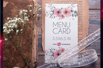 Menu Card PSD Mockup Available With User-friendly Features