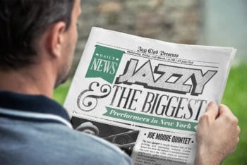 Free Man Reading Newspaper Mockup