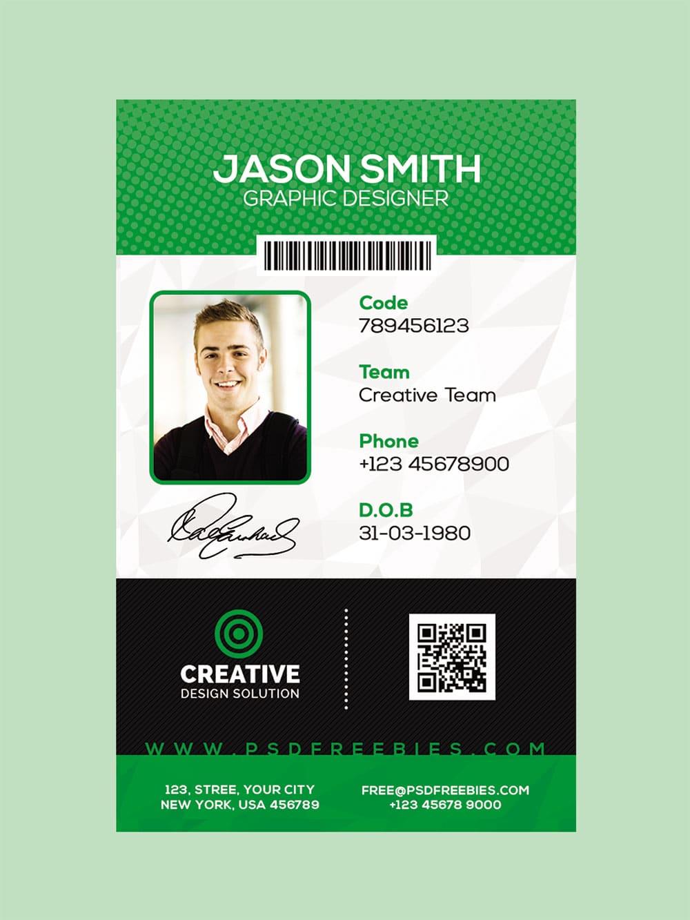 id card mockup free psd