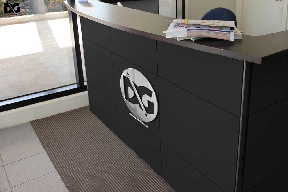 office reception logo mockup