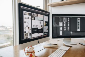 Free Dual Monitor iMac Setup Mockup