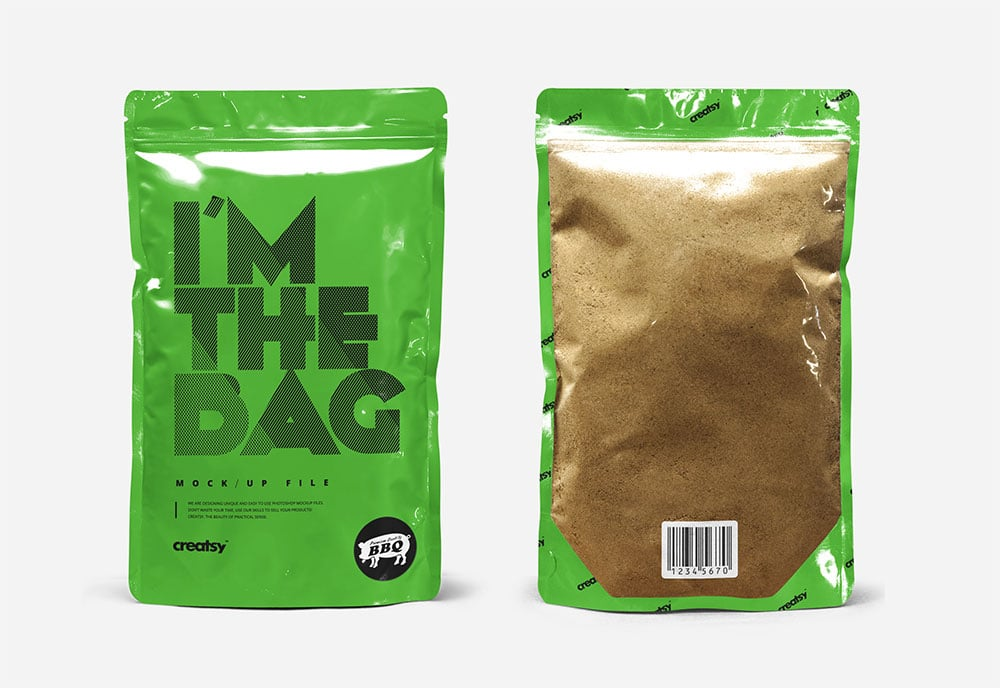 Standup Pouch Packaging Mockup In PSD