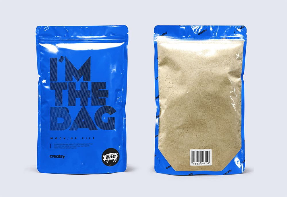 standup pouch packaging mockup