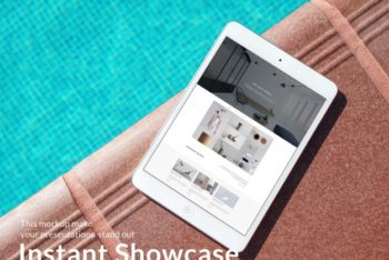 iPad Plus Poolside Scene Mockup Freebie