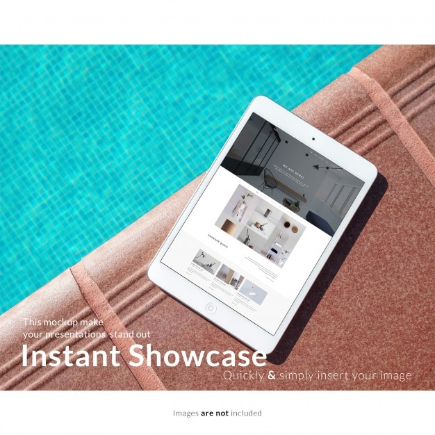 iPad Plus Poolside Scene