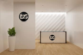 Reception Desk Mockup in PSD