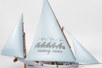 Free Modern Sailing Ship Mockup in PSD