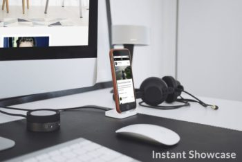 Free Standing Smartphone Plus iMac Mockup