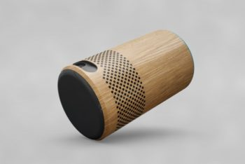 Modern Wooden Speaker Design Mockup Freebie