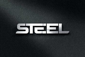 Premium Steel Logo Mockup in PSD
