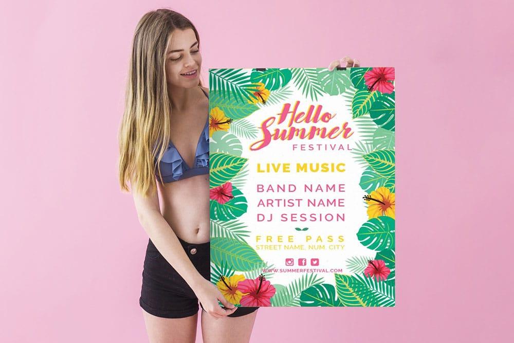 summer sale poster mockup