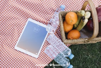Tablet Plus Picnic Scene Mockup Freebie