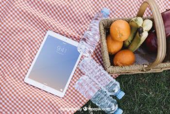 Tablet Plus Picnic Scene Mockup Freebie