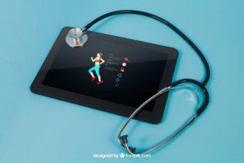 Free Fitness Tablet Plus Stethoscope Mockup