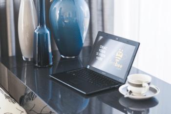 Free Sony Laptop Plus Desk Mockup