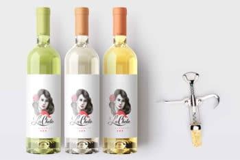 Free Wine Bottle Label Mockup In PSD