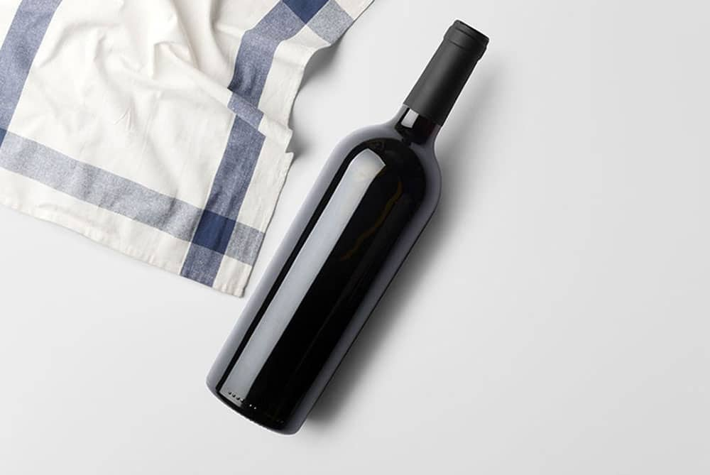 wine bottle mockup scene