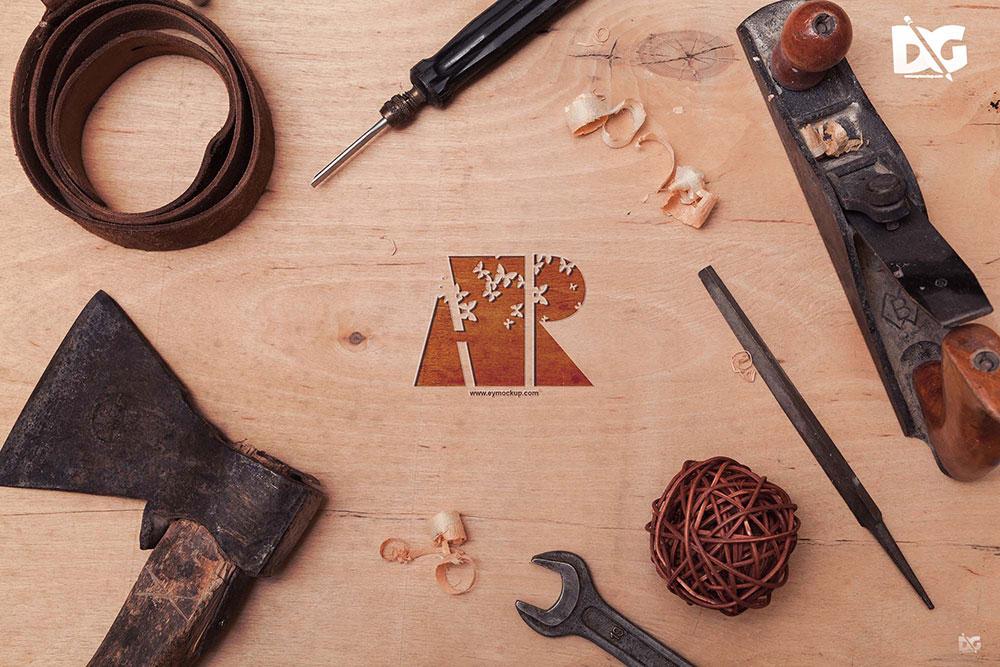 wood logo psd mockup