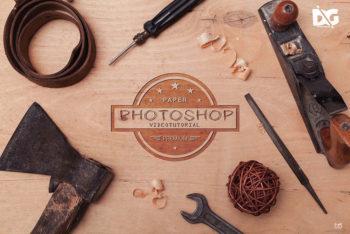 Free Download Wood Logo Mockup in PSD