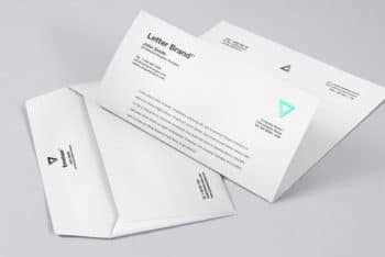 Free Envelope Plus Letter Mockup in PSD